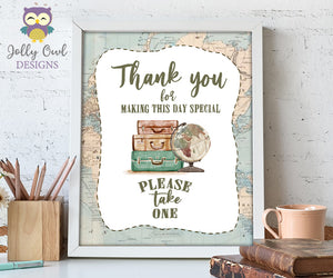 Thank You, Please Take One Favor Table Sign - Printable Signage for Vintage Travel Theme Baby Shower, Birthday, Retirement, Bridal Shower, Bachelorette, Farewell Party