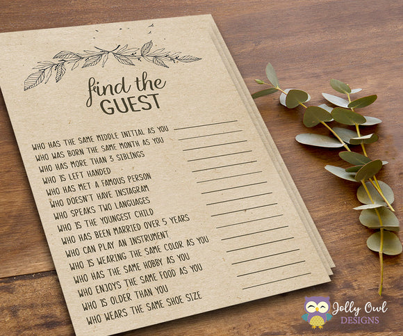 Rustic Themed Bridal Shower - Find The Guest game - Jolly Owl Designs