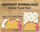Dragons Love Tacos Theme party Food Tent Label
