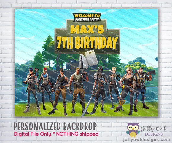 Fortnite Birthday Party Backdrop