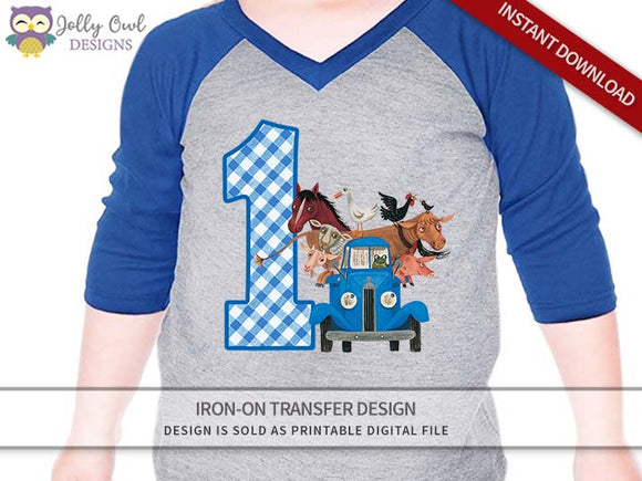Little Blue Truck Iron On Transfer Shirt Design / 1st Birthday / For Age 1