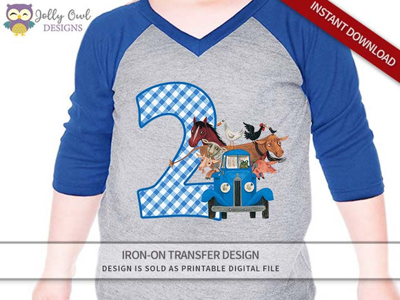Little Blue Truck Iron On Transfer Shirt Design 2nd Birthday / Age 2