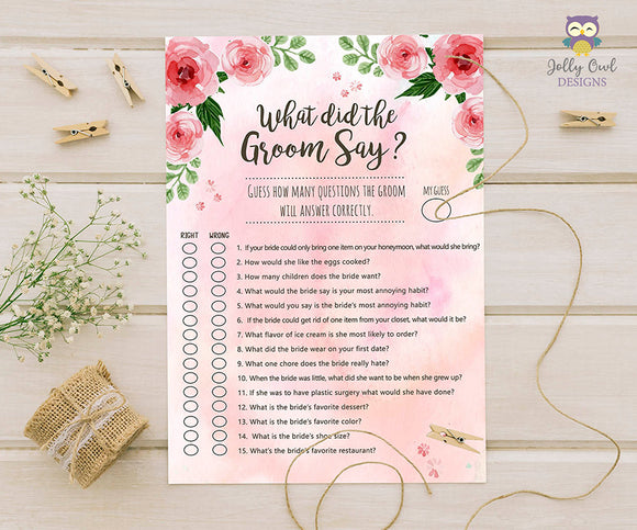 Floral Watercolor Themed Bridal Shower Game - What Did The Groom Say About His Bride?