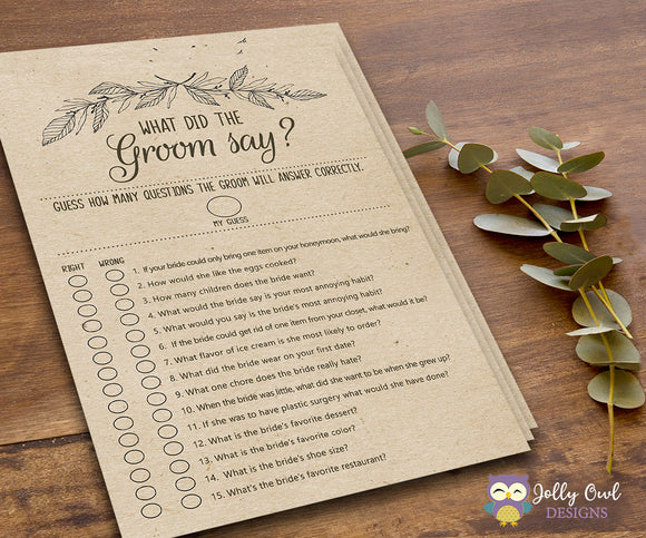 Rustic Themed Bridal Shower Game - What Did The Groom Say About His Bride? - Jolly Owl Designs