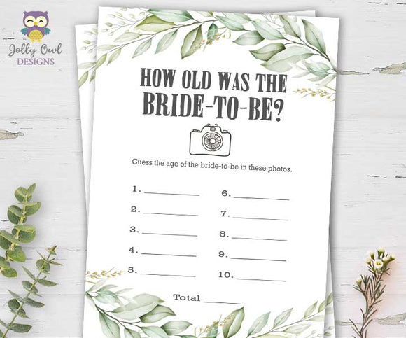 Botanical Greenery Bridal Shower Game - How Old Is the Bride-to-be?