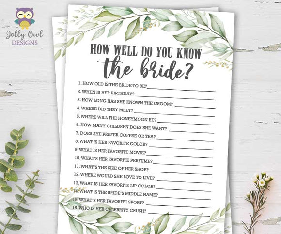 Botanical Greenery Bridal Shower Game - How well do you know the bride?
