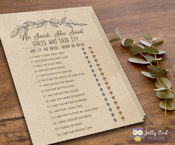 Rustic Themed Bridal Shower Game He Said She Said - Jolly Owl Designs