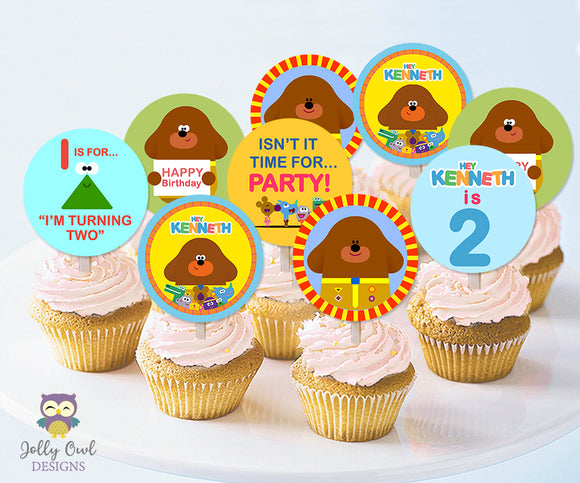 Hey Duggee Personalized Cupcake Toppers - Digital File