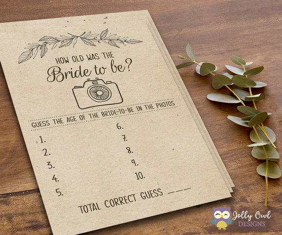 Rustic Themed Bridal Shower Game How Old is the Bride to be - Jolly Owl Designs