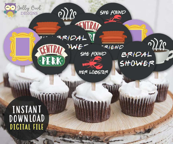 FRIENDS TV Cupcake Toppers | Bridal Shower Party Circles