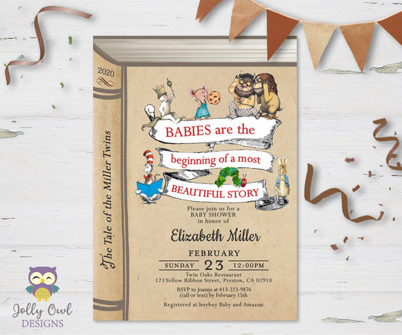 Storybook Themed Baby Shower Invitation for Twins