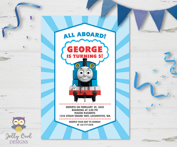 Thomas The Train Birthday Party Invitation - Jolly Owl Designs