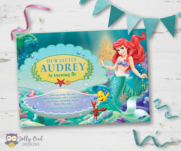 Little Mermaid Birthday Party Invitation - Jolly Owl Designs