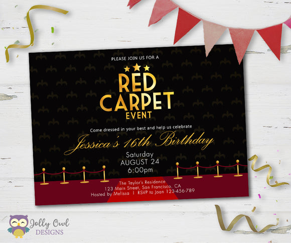 Red Carpet Birthday Party Invitation