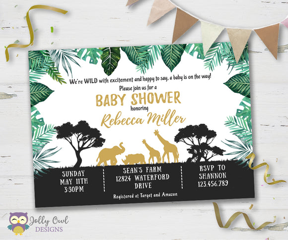 Safari Themed Baby Shower Party Invitation - Jolly Owl Designs
