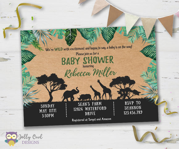 Safari Themed Baby Shower Party Invitation