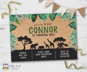 Safari Themed Birthday Party Invitation