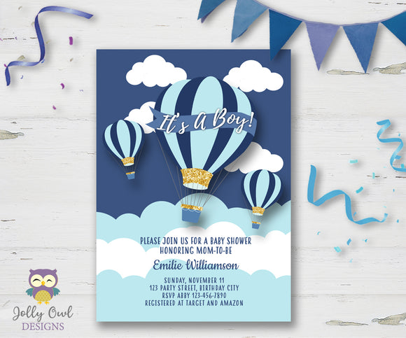 Hot Air Balloon Themed Baby Shower Invitation - Jolly Owl Designs