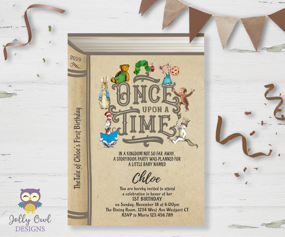 Book Themed Birthday Party Invitation - Once Upon A Time
