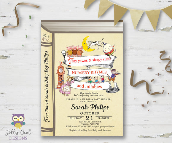 Nursery Rhymes Themed Baby Shower Invitation