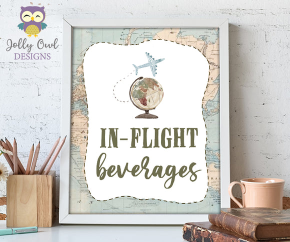 In Flight Beverages Table Sign - Printable Signage for Vintage Travel Theme Baby Shower, Birthday, Retirement, Bridal Shower, Bachelorette, Farewell Party
