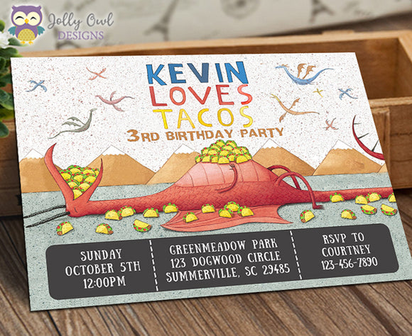 Dragons Love Tacos Party Invitation - Jolly Owl Designs