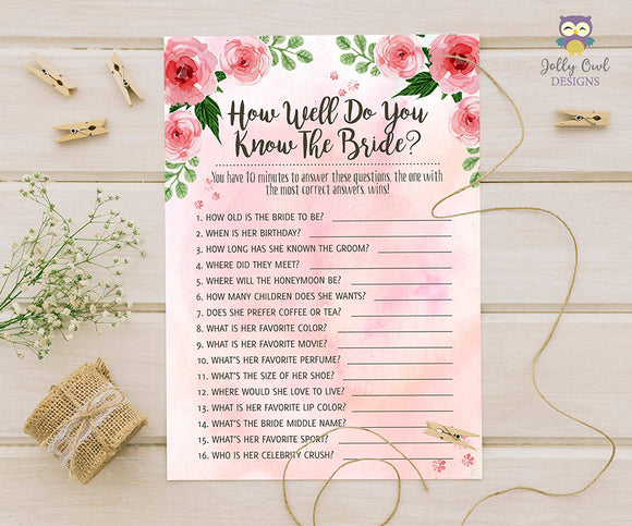 Floral Watercolor Themed Bridal Shower game - How well do you know the bride?