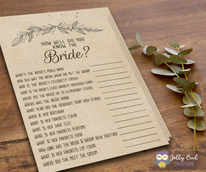 Rustic Themed Bridal Shower game - How well do you know the bride?