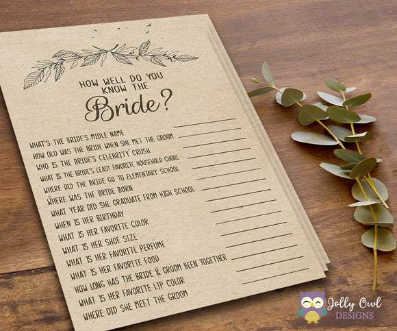 Rustic Themed Bridal Shower game - How well do you know the bride? - Jolly Owl Designs