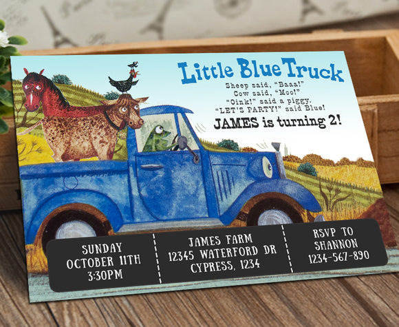 Little Blue Truck Birthday Party Invitation - Jolly Owl Designs