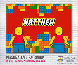 Lego Blocks Birthday Party Backdrop - Digital File