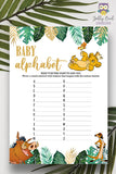 Jungle Safari Lion King Baby Shower - Baby Alphabet A to Z Game Card