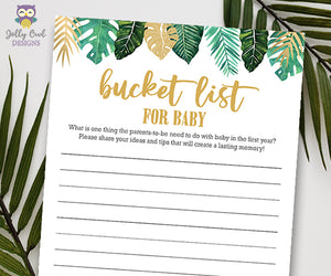 Jungle Safari Lion King Baby Shower - Bucket List Game Activity