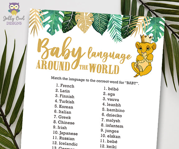 Jungle Safari Lion King Baby Shower - Baby Language Around The World Game