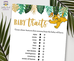 Jungle Safari Lion King Baby Shower - Baby Traits Features Game