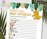 Jungle Safari Lion King Baby Shower - Book Emoji Pictionary Game