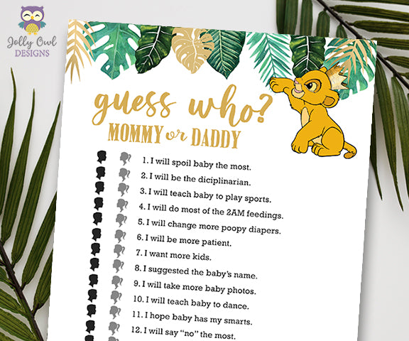 Jungle Safari Lion King Baby Shower - Guess Who? Mommy Or Daddy Game