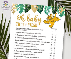Jungle Safari Lion King Baby Shower - Oh Baby True Or False Game