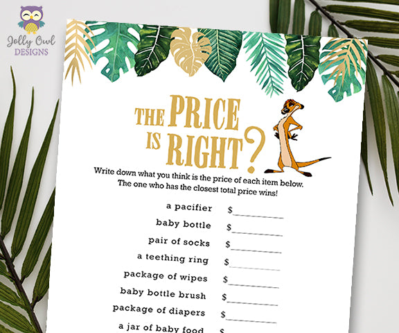 Jungle Safari Lion King Baby Shower - The Price is Right Game