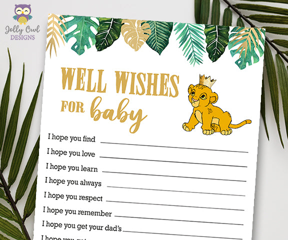 Jungle Safari Lion King Baby Shower - Wishes for the Baby