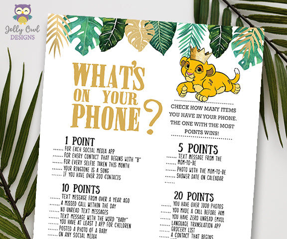Jungle Safari Lion King Baby Shower - What's In Your Phone Game