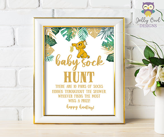 Printable Baby Sock Hunt Sign - Lion King themed Baby Shower