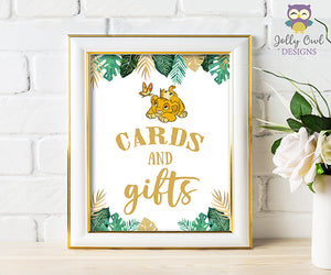 Printable Cards and Gifts Sign - Lion King themed Baby Shower/Birthday
