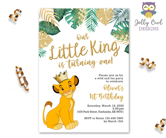 The Lion King Birthday Party Invitation - Green Gold Tropical Safari