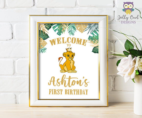 The Lion King Birthday Party Sign - Personalized Welcome Sign - Digital File