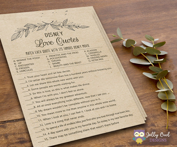 Rustic Themed Bridal Shower Game Disney Love Quotes - Jolly Owl Designs