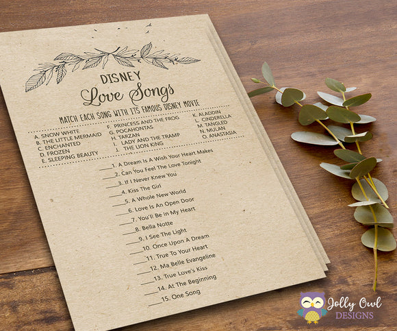 Rustic Themed Bridal Shower Game Disney Love Songs - Jolly Owl Designs