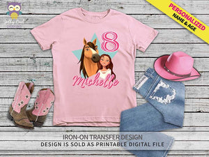 Spirit Riding Free Iron On Transfer Shirt Design / Personalized Name and Age