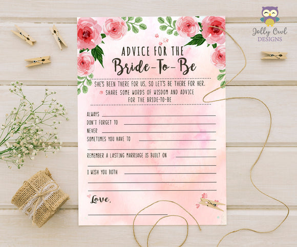 Floral Watercolor Themed Bridal Shower game - Advice for the bride to be