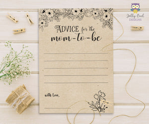Rustic Floral Themed Baby Shower Game Card Advice for the Mom To Be